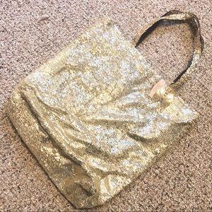 Victoria's Secret Gold Shine Sequin Angel Wing Bag